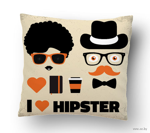 "Подушка маленькая ""Love Hipster"" (art. 27; 15x15 см)"