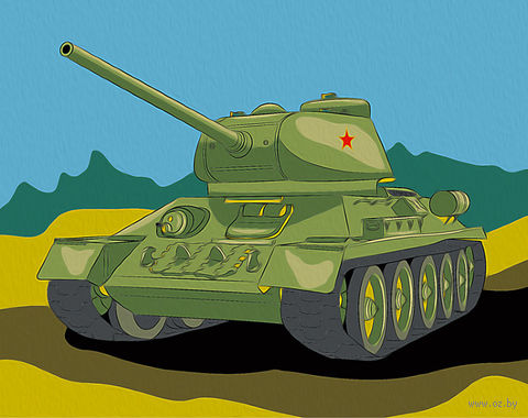 """Картина по номерам """"Танк Т-34"""" (165х130 мм) — фото, картинка"""