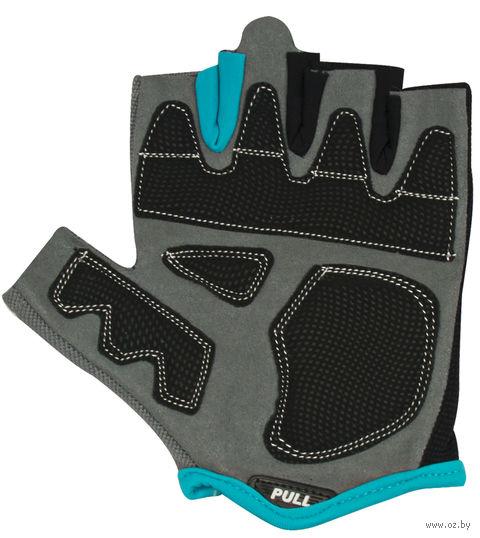Перчатки для фитнеса SU-117 (M; чёрные/серые/голубые) — фото, картинка