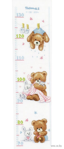 """Вышивка крестом """"Ростомер. Милые медвежата"""" (180x700 мм) — фото, картинка"""