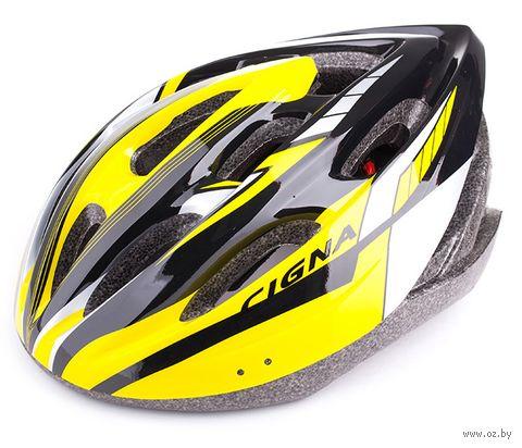 """Шлем велосипедный """"WT-040"""" (чёрный/жёлтый/белый) — фото, картинка"""
