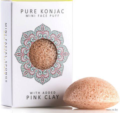 """Спонж для очистки лица """"Pure Konjac Mini Face Puff with Pink French Clay. С розовой глиной. Для чувствительной кожи"""" — фото, картинка"""