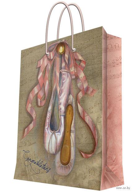 """Пакет бумажный подарочный """"Пуанты"""" (26x32,4x12,7 см; арт. 35957) — фото, картинка"""