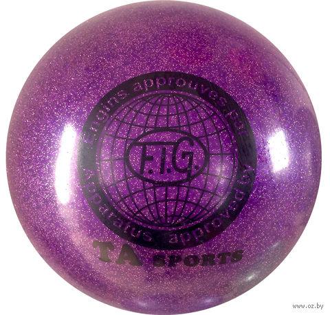 Мяч для художественной гимнастики RGB-102 (19 см; фиолетовый с блёстками) — фото, картинка
