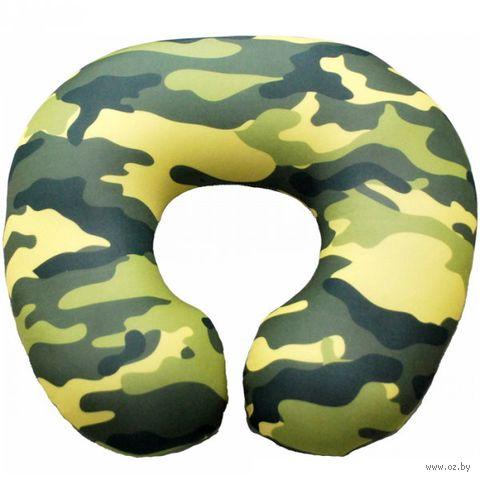 "Подушка под шею ""Хаки"" (34х34 см; зелёная) — фото, картинка"