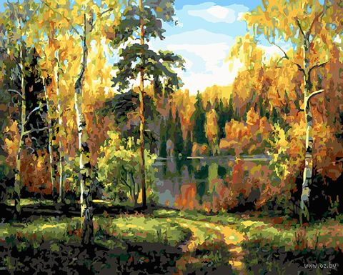 "Картина по номерам ""Осенний лес"" (400х500 мм) — фото, картинка"