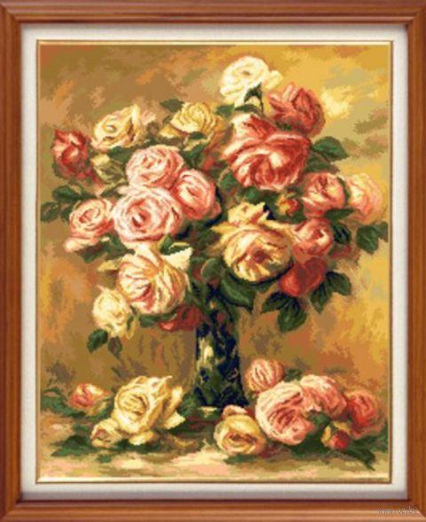 """Вышивка крестом """"Ренуар. Розы"""" (420х340 мм) — фото, картинка"""