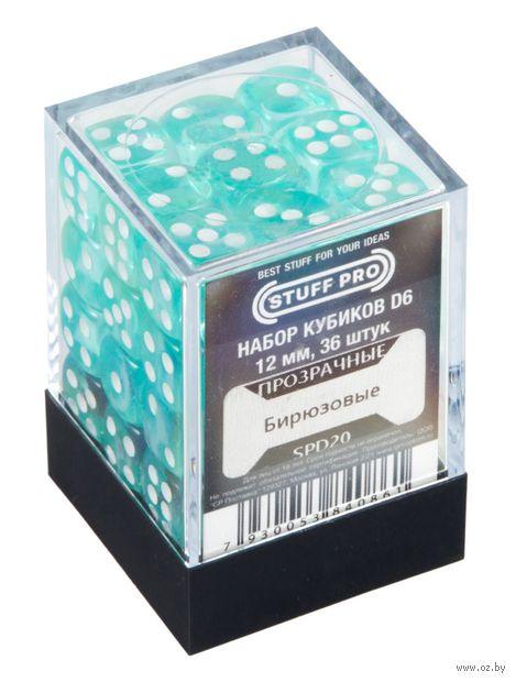 """Набор кубиков D6 """"Прозрачный"""" (36 шт.; бирюзовый) — фото, картинка"""