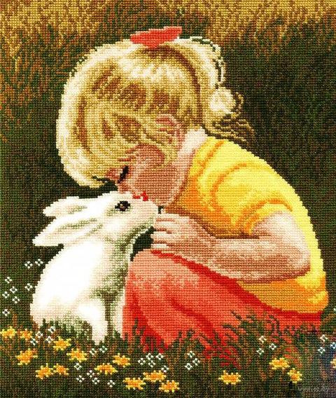 """Вышивка крестом """"Девочка с кроликом"""""""
