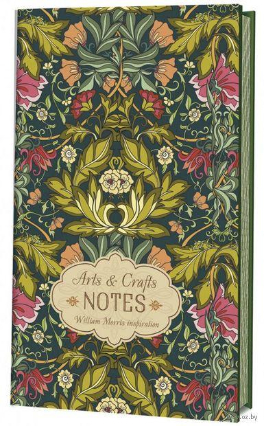 """Блокнот """"Arts&Crafts Notes William Morris Inspiration """" (126х200; зеленая с розовыми цветами) — фото, картинка"""