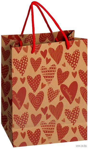 """Пакет бумажный подарочный """"Сердечки"""" (18х23х8 см; арт. 10772283; продается только в розничных магазинах OZ) — фото, картинка"""