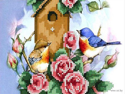 "Алмазная вышивка-мозаика ""Птички у скворечника"" (250х190 мм) — фото, картинка"
