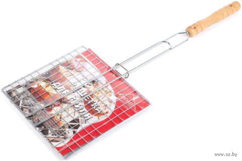 Решетка для гриля металлическая раскладная с деревянной ручкой (58*23*21 см, арт. 2062W)