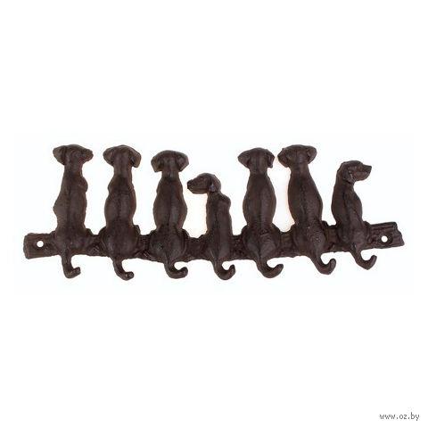"""Вешалка настенная металлическая """"Собаки"""" (7 крючков; 25,5 см; арт. 10319423)"""