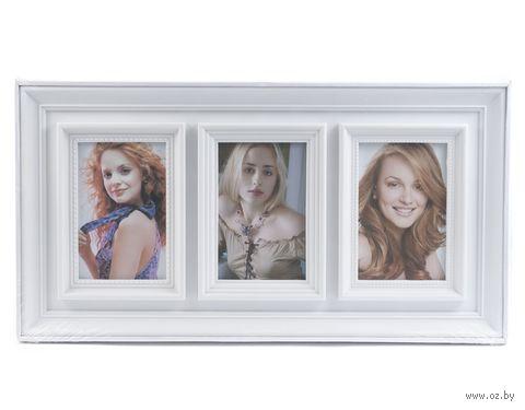 Рамка для фото пластмассовая на 3 фото (48x25 см)