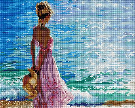 """Алмазная вышивка-мозаика """"Блеск морской волны"""" (400х500 мм) — фото, картинка"""