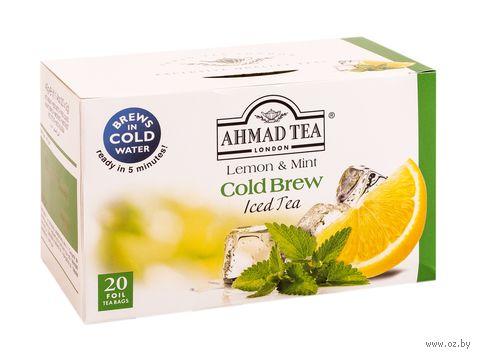 """Чай зеленый """"Ahmad Tea. Cold Brew. Лимон и мята"""" (20 пакетиков) — фото, картинка"""