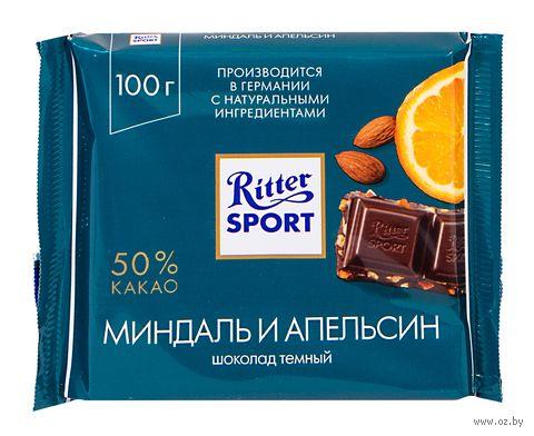 """Шоколад тёмный """"Ritter Sport. Миндаль и апельсин"""" (100 г) — фото, картинка"""