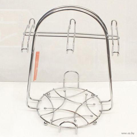 Подставка-вешалка для чашек металлическая на 6 штук (21х21х27 см)
