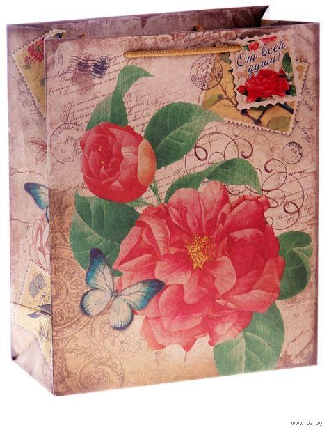 """Пакет бумажный подарочный """"Цветок"""" (14х18,5х10 см; арт. 10645944; продается только в розничных магазинах OZ) — фото, картинка"""