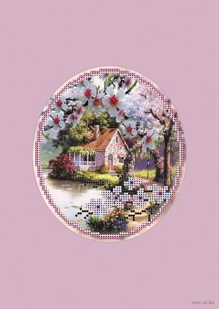 """Вышивка бисером """"Пора цветения"""" (140х160 мм; с паспарту) — фото, картинка"""