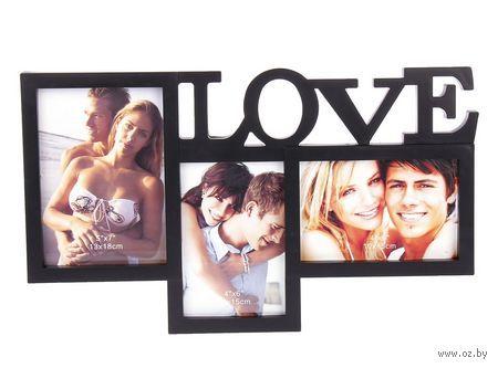 """Рамка для фото пластмассовая на 3 фото """"Love"""" (39х23 см)"""
