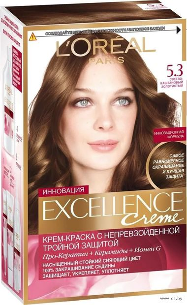 """Крем-краска для волос """"Color Excellence Creme"""" (тон: 5.3, cветло-каштановый золотистый) — фото, картинка"""