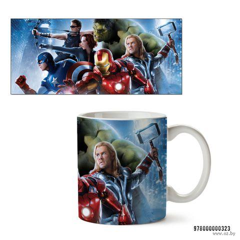 """Кружка """"Мстители из вселенной MARVEL"""" (белая; арт. 323) — фото, картинка"""