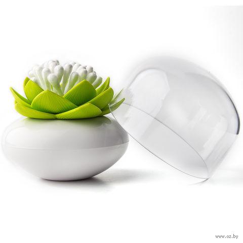 """Контейнер для ватных палочек """"Lotus"""" (белый/зеленый)"""