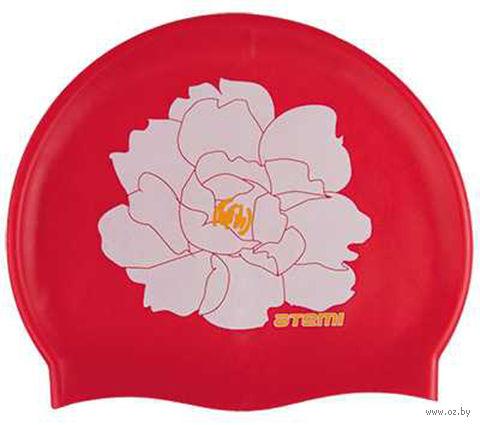Шапочка для плавания (красная; цветок; арт. PSC409) — фото, картинка