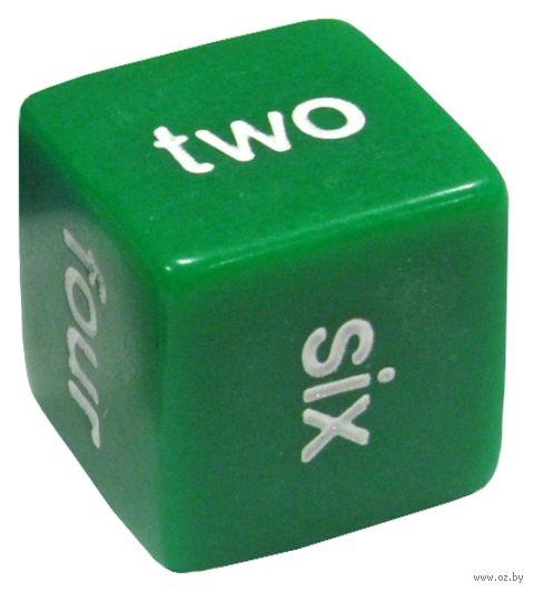 "Кубик D6 ""Английские цифры"" (16 мм; зеленый) — фото, картинка"