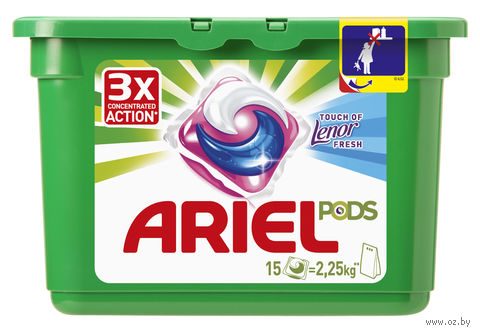 "Гель для стирки в капсулах Ariel ""Touch of Lenor Fresh"" (15 шт)"