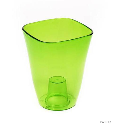 """Кашпо """"Flora"""" (12,5х12,5х17 см; прозрачный зеленый) — фото, картинка"""