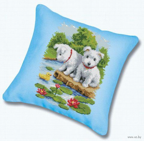 "Вышивка крестом ""Подушка. Два щенка"" (450х450 мм) — фото, картинка"