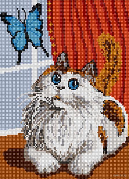 "Алмазная вышивка-мозаика ""Кот и бабочка"" (360х260 мм) — фото, картинка"
