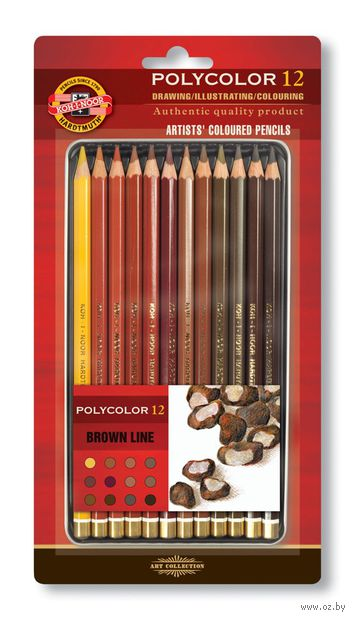 """Набор карандашей цветных """"Polycolor"""" (12 цветов; коричневые оттенки) — фото, картинка"""