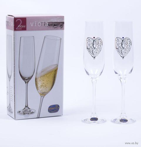"""Бокал для шампанского стеклянный """"Viola"""" (2 шт.; 190 мл; арт. 40729/S1304/190-2) — фото, картинка"""