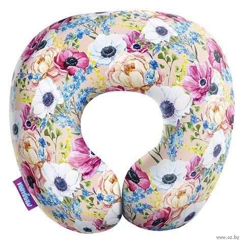 """Подушка под шею """"Оттенки весны. Мелкий принт"""" (34х34 см; бежевая) — фото, картинка"""