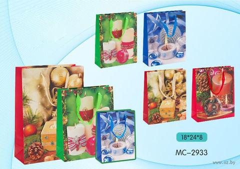 """Пакет бумажный подарочный """"С Новым годом"""" (в ассортименте; 18х24х8 см; арт. МС-2933)"""