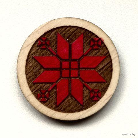 "Магнит деревянный ""Беларускія Арнаменты. Васьмірог з расколкамі"" — фото, картинка"