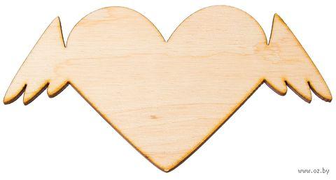 """Заготовка деревянная """"Сердце с крыльями"""" (120х65 мм)"""