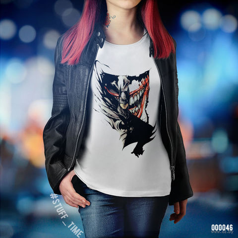 "Футболка женская ""Бэтмен и Джокер"" S (046)"