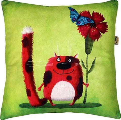 """Подушка """"Тебе от кота"""" (35x35 см; зелёная) — фото, картинка"""