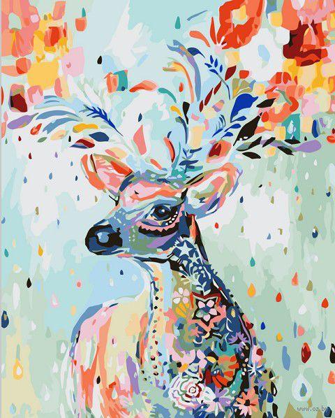 """Картина по номерам """"Цветочный олень"""" (400х500 мм) — фото, картинка"""
