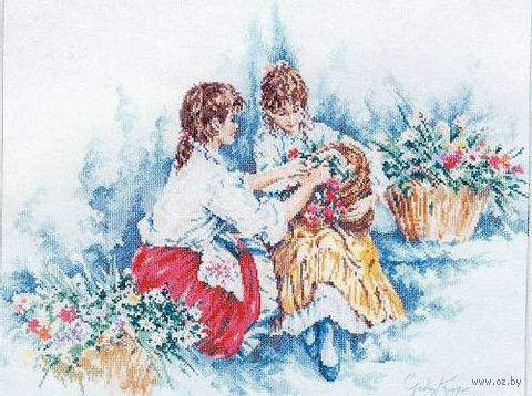 """Вышивка крестом """"Девушки с цветами"""""""