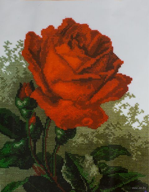 "Вышивка крестом ""Роза красная"" (300x190 мм) — фото, картинка"