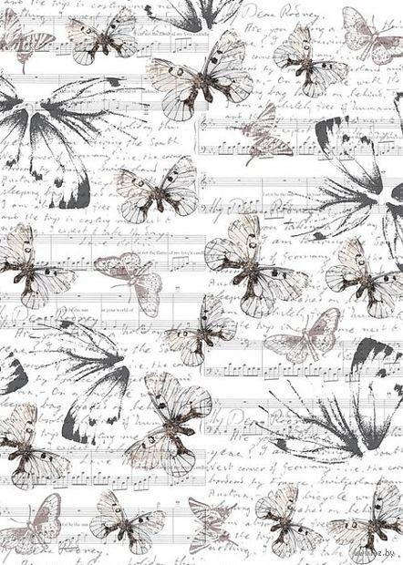 """Бумага для декупажа рисовая """"Бабочки и ноты"""" (210х300 мм) — фото, картинка"""