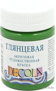 """Краска акриловая глянцевая """"Decola"""" (зеленый средний, 50 мл)"""