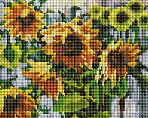"""Алмазная вышивка-мозаика """"Ноктюрн с подсолнухами"""" (200х250 мм) — фото, картинка"""