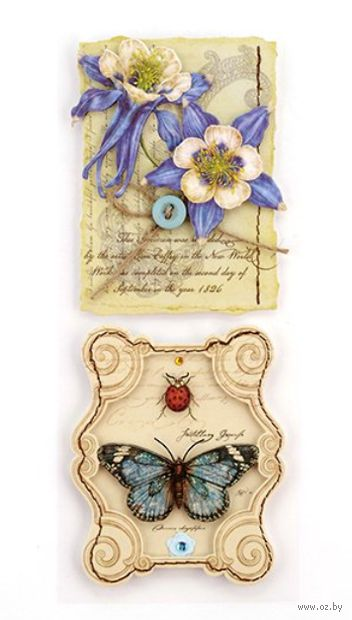 """Украшение для скрапбукинга """"Листва. Цветы и бабочка"""""""